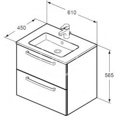 Ideal Standard Skříňka s umyvadlem 610x450 mm, dekor šedý dub K2979SG