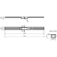 I-Drain Nerezový sprchový žlab, délka 1100 mm, s hydroizolací ID4M11001X1