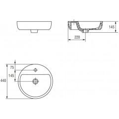 CERSANIT - Umyvadlo CASPIA RING 44 na desku s přepadem (K11-0094)