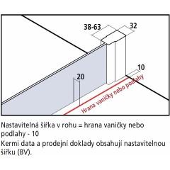 Kermi Boční stěna Cada XS TWD 05520 510-560/2000 bílá ESG čiré Clean boční stěna (CCTWD055202PK)