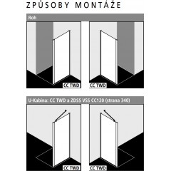 Kermi Boční stěna Cada XS TWD 07520 710-760/2000 bílá ESG čiré Clean boční stěna (CCTWD075202PK)