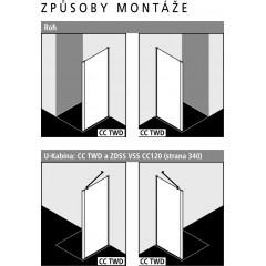 Kermi Boční stěna Cada XS TWD 12020 1160-1210/2000 bílá ESG čiré Clean Boční stěna (CCTWD120202PK)