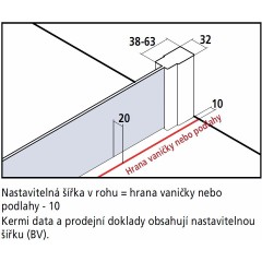 Kermi Boční stěna Cada XS TWD 09520 910-960/2000 stříbrná vys.lesk Serig.CC Clean boční stěna (CCTWD09520VVK)