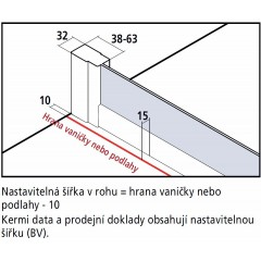 KERMI - Cada XS 3-dílné posuvné dveře s pevným polem vlevo šířka 900 mm výška 2000 mm (CCG3L09020VVK)