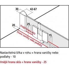 KERMI - FILIA XP / Jednokřídlé kyvné dveře s pevným polem vlevo, pro boční stěnu (FX1WL10320VPK)
