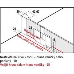 Kermi Kyvné dveře Filia XP 1GR 17020 1660-1710/2000 stříbrná vys.lesk ESG čiré Clean 1-křídlé kyvné dveře s p. poli panty vpravo (FX1GR17020VPK)