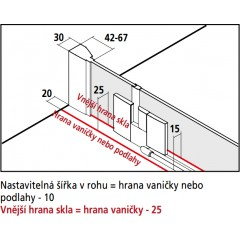 Kermi Kyvné dveře Filia XP 1GR 18320 1780-1818/2000 stříbrná vys.lesk ESG čiré Clean 1-křídlé kyvné dveře s p. poli panty vpravo (FX1GR18320VPK)