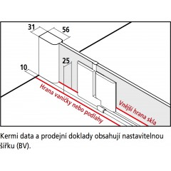 KERMI - Pasa XP / jednokřídlé kyvné dveře s pevným polem vlevo, jen do niky (PX1TL12018VAK)