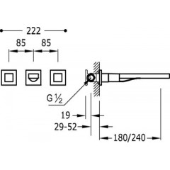 TRES - Nástěnná umyvadlová baterieVčetně nerozdělitelného zabudovaného tělesa. Ramínko 180 mm. (00815301AC)