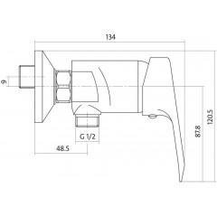 CERSANIT - Sprchová baterie AMET jednopáková, dvouotvorová, nástěnná, bez přepínače, CHROM (S951-027)