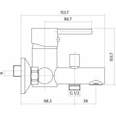 CERSANIT - Vanová baterie se sprchou SIMI jednopáková, nástěnná, s pevným výtokovým ramínkem, s přepínačem, CHROM (S951-001)