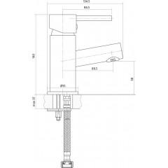 CERSANIT - Umyvadlová baterie SIMI jednopáková, jednootvorová, stojánková, s pevným výtokovým ramínkem, CHROM, s výpustí plastovou S951-039