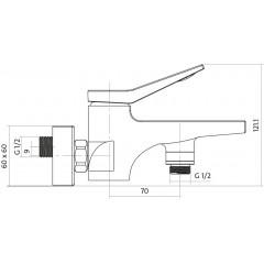 CERSANIT - Vanová baterie se sprchou CROMO jednopáková, nástěnná, s pevným výtokovým ramínkem, s přepínačem, CHROM (S951-011)