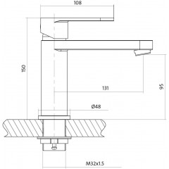 CERSANIT - Umyvadlová baterie ELIO jednopáková, jednootvorová, stojánková, s pevným výtokovým ramínkem, CHROM, s výpustí kovovou (S951-046)