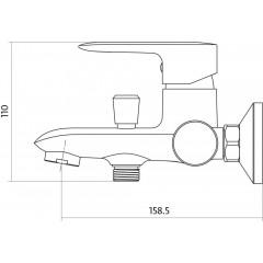 CERSANIT - Vanová baterie se sprchou LUMI jednopáková, nástěnná, s pevným výtokovým ramínkem, s přepínačem, CHROM (S951-005)