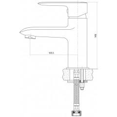 CERSANIT - Umyvadlová baterie LUMI jednopáková, jednootvorová, stojánková, s pevným výtokovým ramínkem, CHROM, s výpustí kovovou (S951-043)