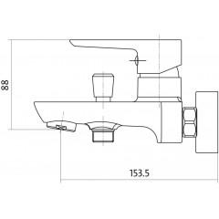 CERSANIT - Vanová baterie se sprchou MILLE jednopáková, nástěnná, s pevným výtokovým ramínkem, s přepínačem, CHROM (S951-006)