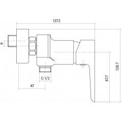 CERSANIT - Sprchová baterie MILLE jednopáková, nástěnná, bez přepínače, CHROM/BÍLÁ (S951-033)