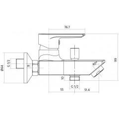 CERSANIT - Vanová baterie se sprchou VERO jednopáková, nástěnná, s pevným výtokovým ramínkem, s přepínačem, CHROM (S951-004)