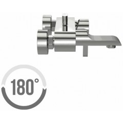 CERSANIT - Vanová baterie se sprchou LUVIO jednopáková, nástěnná, s pevným výtokovým ramínkem, s přepínačem, CHROM (S951-012)