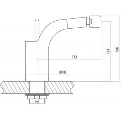 CERSANIT - Bidetová baterie LUVIO jednopáková, jednootvorová, stojánková, bez přepínače, CHROM (S951-017)