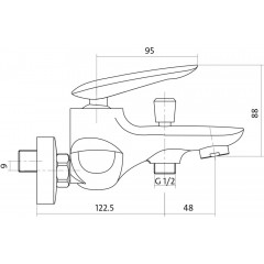 CERSANIT - Vanová baterie se sprchou MAYO jednopáková, nástěnná, s pevným výtokovým ramínkem, s přepínačem, CHROM (S951-013)
