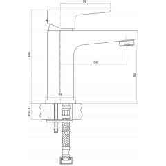 CERSANIT - Umyvadlová baterie VIGO jednopáková, jednootvorová, stojánková, s pevným výtokovým ramínkem, CHROM, s výpustí kovovou click-clack S951-049