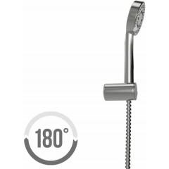 CERSANIT - Sprchová souprava s bodovým držákem LANO, 5 funkční, průměr ruční sprchy 8,5cm, kovová hadice dlouhá 150cm, s bodovým držákem a montážní sadou (S951-022)