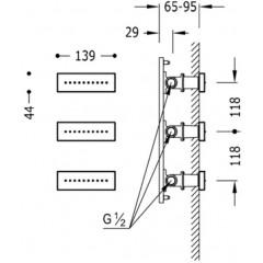 TRES - 3 zapuštěné hydromasážní trysky 140x45 mm. Materiál Mosaz. (29951504)