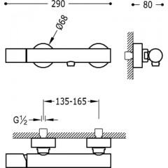 TRES - STUDY COLORS Sprchová baterie Ruční sprcha snastavitelným držákem, proti ( 26116701TAM )