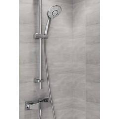 CERSANIT - Sprchová souprava s tyčí a posuvným držákem SENTI, 5 funkční, průměr ruční sprchy 12cm, hadice z PVC dlouhá 200cm, kovová tyč 80cm s posuvným držákem a montážní sadou (S951-020)
