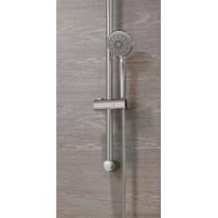 CERSANIT - Sprchová souprava s tyčí a posuvným držákem VIBE, 3 funkční, průměr ruční sprchy 8,5cm, kovová hadice dlouhá 150cm, kovová tyč 70cm s posuvným držákem a montážní sadou (S951-021)