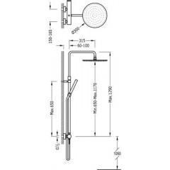 TRES - Sprchová tyč MONO-TERM® · Pevná sprcha O 300 mm. s kloubem. Materiál mosaz (1.34.137.30). (06237801)