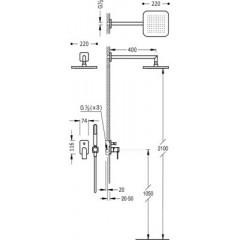 TRES - Podomítkový jednopákový sprchový set LOFT s uzávěrem a regulací průtoku (20018002)