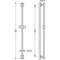 TRES - Posuvná tyč CUADRO Materiál Mosaz, délka 842 mm (107935)