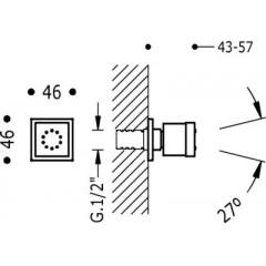 TRES - Boční hydromasážní sprchas 1 typem natáčecího proudu. Má systém proti usazování kamence, zpětný ventil a omezovač průto (29951501)