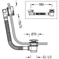 TRES - Odtoková a napouštěcí vanová hranatá souprava KASKÁDA s přepademzátka O 70 mm CLICK-CLACK (13453440)