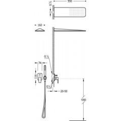 TRES - Podomítkový jednopákový sprchový sets uzávěrem a regulací průtoku. Včetně podomítkového tělesa Nástěnné sprchové kr (20018005BM)