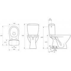 CERSANIT - WC kombi KASKADA 207 020 3/6, sedátko polypropylenové (K100-207)