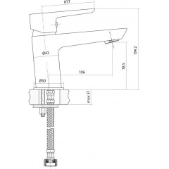 CERSANIT - Umyvadlová baterie MILLE jednopáková, jednootvorová, stojánková, s pevným výtokovým ramínkem, CHROM/ČERNÁ, s výpustí kovovou (S951-048)
