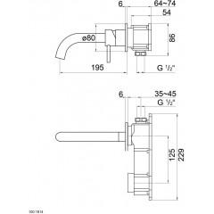 STEINBERG - Umyvadlová podomitková páková baterie s výtokem 195 mm, bez tělesa (100 1814)
