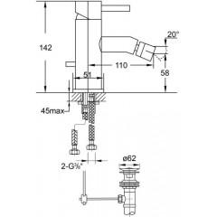 STEINBERG - Páková bidetová stojánková baterie s výpustí, chrom (100 1300)