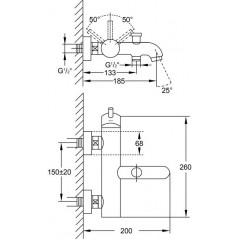 STEINBERG - Páková vanová nástěnná baterie, chrom (100 1100)