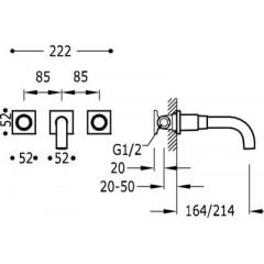 TRES - Nástěnná umyvadlová baterieVčetně nerozdělitelného zabudovaného tělesa. Ramínko 214 mm. (21115201BM)