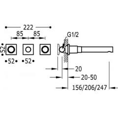 TRES - Nástěnná umyvadlová baterieVčetně nerozdělitelného zabudovaného tělesa. Ramínko 206 mm. (21175201)