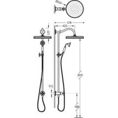 TRES - Sprchová souprava, proti usaz. vod. kamene Pevná sprcha O 310 mm. s kloubem. Ruční sprcha, proti usaz. vod. Kamene. (24247602LV)