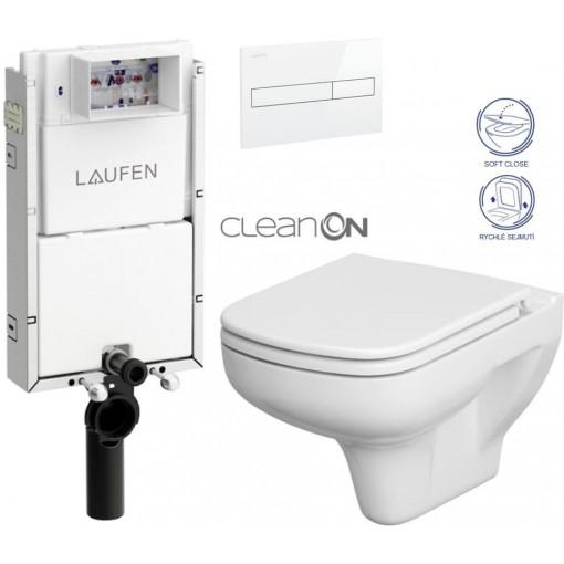 LAUFEN - Podomít. systém LIS TW1 SET BÍLÁ + ovládací tlačítko BÍLÉ + WC CERSANIT COLOUR CLEANON + SEDÁTKO (H8946630000001BI CN1)