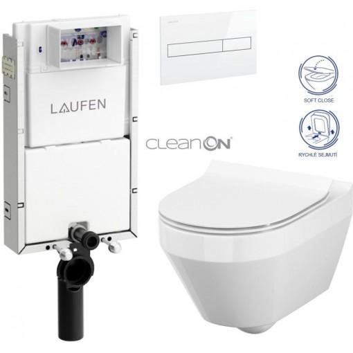 LAUFEN Podomít. systém LIS TW1 SET s bílým tlačítkem + WC CERSANIT CLEANON CREA OVÁL + SEDÁTKO (H8946630000001BI CR1)