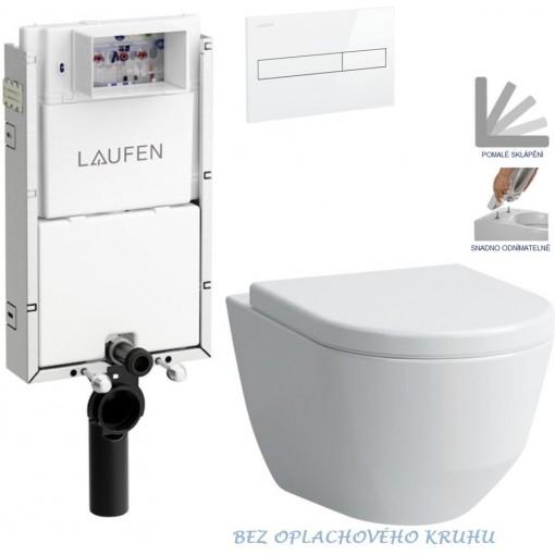 LAUFEN Podomít. systém LIS TW1 SET s bílým tlačítkem + WC LAUFEN PRO RIMLESS + SEDÁTKO (H8946630000001BI LP1)