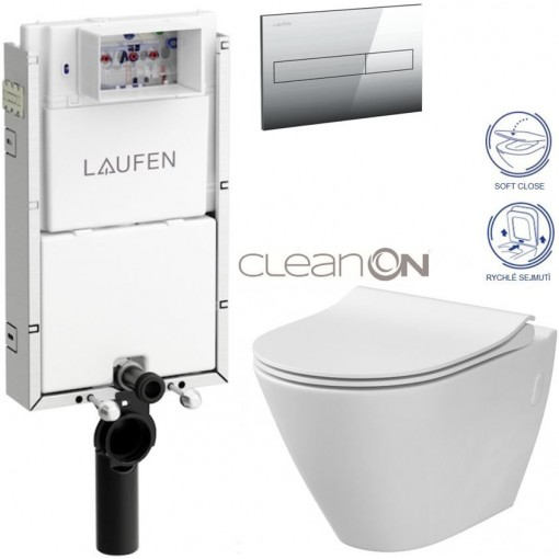 LAUFEN Podomít. systém LIS TW1 SET s chromovým tlačítkem + WC CERSANIT CLEANON CITY H8946630000001CR CI1